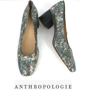 ANTHROPOLOGIE LEATHER SNAKE PRINT PUMPS SZ 9